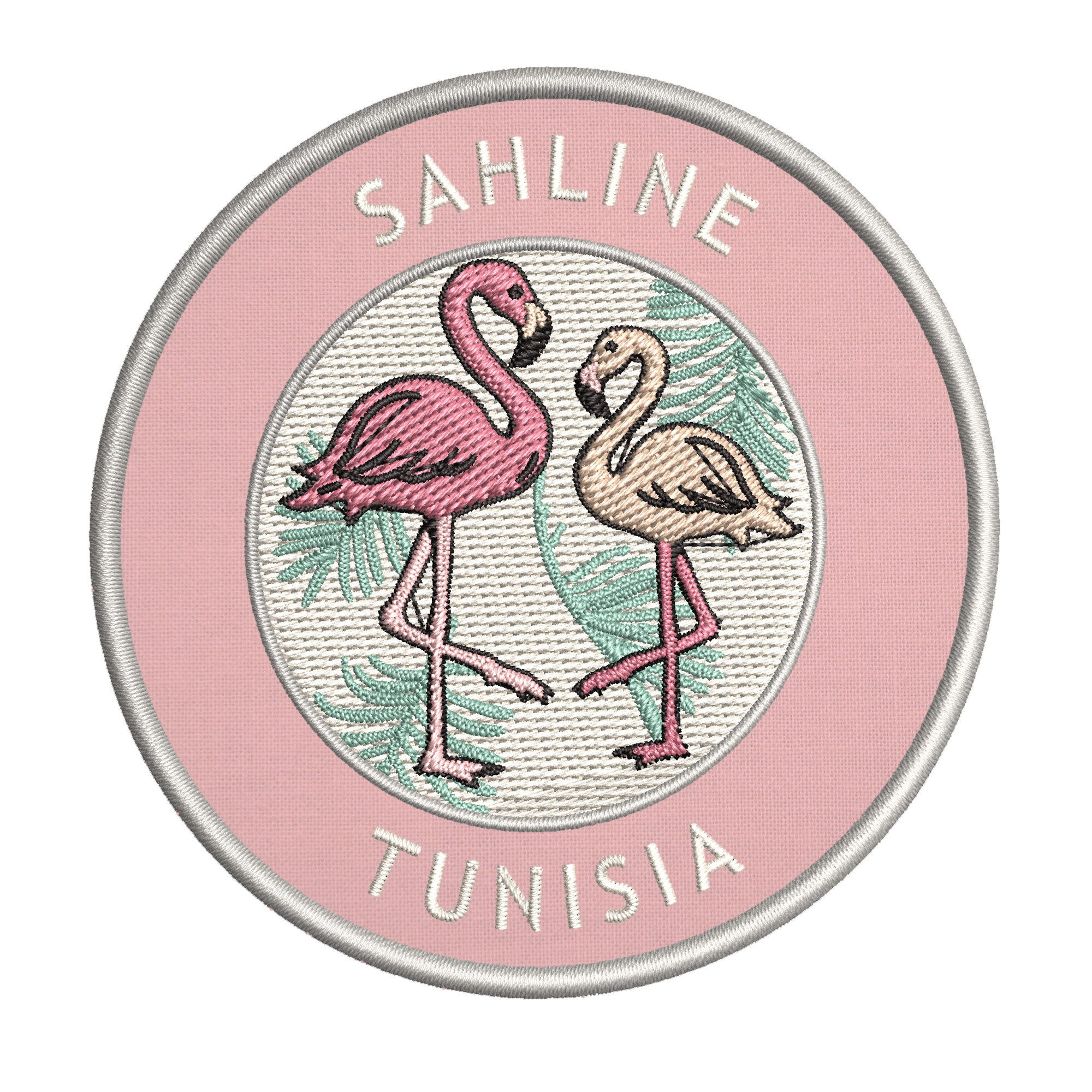 """Tunisia 3.5/"""" Iron//Sew On Decorative Patch Two Flamingos Sahline"""
